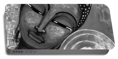 Portable Battery Charger featuring the mixed media Buddha In Grey Tones by Prerna Poojara