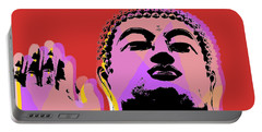 Portable Battery Charger featuring the digital art Buddha Pop Art  by Jean luc Comperat