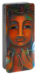 Buddha With A White Lotus In Earthy Tones Portable Battery Charger