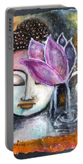 Portable Battery Charger featuring the mixed media Buddha With Torn Edge Paper Look by Prerna Poojara