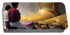 Portable Battery Charger featuring the photograph Buddhist Thai People Praying by Heiko Koehrer-Wagner