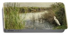 Buena Vista Lagoon-snowy Egret Portable Battery Charger