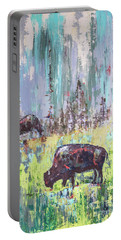 Buffalo Grazing Portable Battery Charger by Cheryl McClure