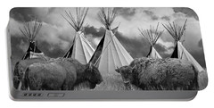 Buffalo Herd Among Teepees Of The Blackfoot Tribe Portable Battery Charger