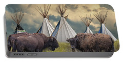 Buffalo Herd On The Reservation Portable Battery Charger