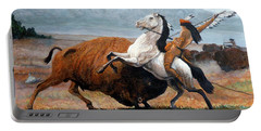 Buffalo Hunt Portable Battery Charger by Tom Roderick