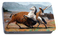 Portable Battery Charger featuring the painting Buffalo Hunt by Tom Roderick