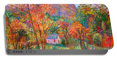 Portable Battery Charger featuring the painting Buffalo Mountain In Fall by Kendall Kessler