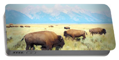 Buffalo Roam, Smokey Grand Tetons, Wyoming Portable Battery Charger