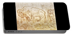 Portable Battery Charger featuring the drawing Buffalo Trail  by Larry Campbell