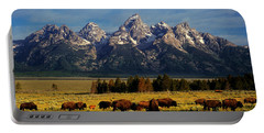 Buffalo Under Tetons Portable Battery Charger by Leland D Howard