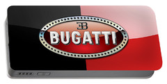 Bugatti 3 D Badge On Red And Black  Portable Battery Charger