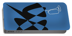 Portable Battery Charger featuring the digital art Bugle In Blue by David Bridburg