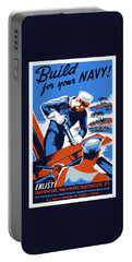 Portable Battery Charger featuring the painting Build For Your Navy - Ww2 by War Is Hell Store