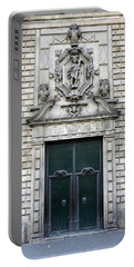 Building Artwork And Old Door In Barcelona Portable Battery Charger by Richard Rosenshein