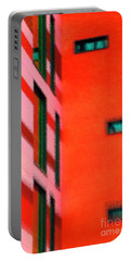 Portable Battery Charger featuring the digital art Building Block - Red by Wendy Wilton