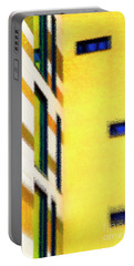 Portable Battery Charger featuring the digital art Building Block - Yellow by Wendy Wilton