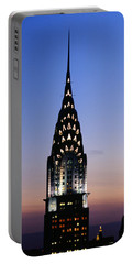 Building Lit Up At Twilight, Chrysler Portable Battery Charger by Panoramic Images