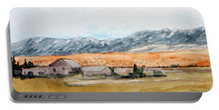 Buildings On A Colorado Ranch With Mountain Landscape Portable Battery Charger by R Kyllo