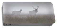 Bull And Cow Elk In Fog - September 30 2016 Portable Battery Charger