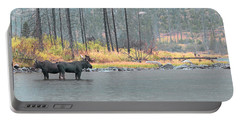 Bull And Cow Moose In East Rosebud Lake Montana Portable Battery Charger