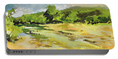 Portable Battery Charger featuring the painting Bull Creek 3 by Rae Andrews