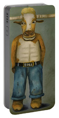 Bull Denim Portable Battery Charger by Leah Saulnier The Painting Maniac