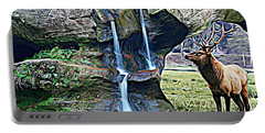 Bull Elk By A Waterfall Portable Battery Charger
