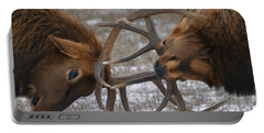 Bull Elk In The Rut-signed Portable Battery Charger by J L Woody Wooden