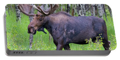 Bull Moose In The Wild Portable Battery Charger by John Roberts