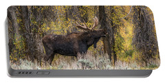 Portable Battery Charger featuring the photograph Bull Moose Talk by Yeates Photography