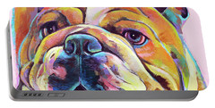 Portable Battery Charger featuring the painting Bulldog Love by Robert Phelps