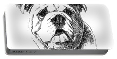 Bulldog-portrait-drawing Portable Battery Charger