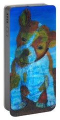 Portable Battery Charger featuring the painting Bulldog Puppy by Donald J Ryker III