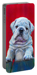 Bulldog Puppy On Red Portable Battery Charger by Jane Schnetlage