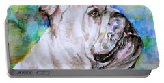Portable Battery Charger featuring the painting Bulldog - Watercolor Portrait.4 by Fabrizio Cassetta