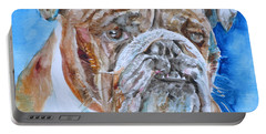 Portable Battery Charger featuring the painting Bulldog - Watercolor Portrait.8 by Fabrizio Cassetta