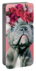 Bulldog With Flowers Portable Battery Charger