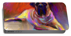 Bullmastiff Dog Painting Portable Battery Charger by Svetlana Novikova