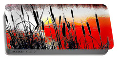 Bullrushes Against The Sunset Portable Battery Charger