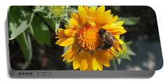 Bumble Bee Collecting Pollen On Sunflower Portable Battery Charger