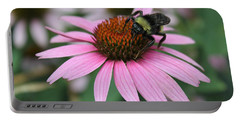 Bumble Bee On Pink Cone Flower Portable Battery Charger