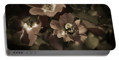 Bumblebee On Blush Country Rose In Sepia Tones Portable Battery Charger