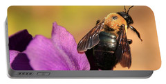 Bumblebee On Iris Portable Battery Charger by Chris Berry