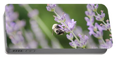 Portable Battery Charger featuring the photograph Bumblebee On The Lavender Field 2 by Andrea Anderegg