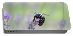 Portable Battery Charger featuring the photograph Bumblebee On The Lavender Field by Andrea Anderegg
