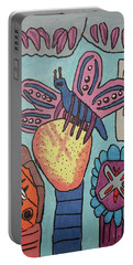 Portable Battery Charger featuring the painting Bumblefly by Brandon Drucker
