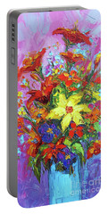 Portable Battery Charger featuring the painting Colorful Wildflowers, Abstract Floral Art by Patricia Awapara
