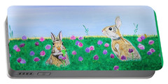 Bunnies In Clover Portable Battery Charger