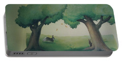 Bunnies Running Under Trees Portable Battery Charger